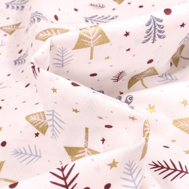 Tissu Coton imprimé Sapins dorés et argentés sur fond Blanc cassé