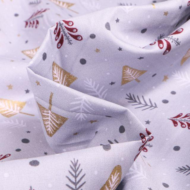 Tissu Coton imprimé Sapins dorés et argentés sur fond Gris