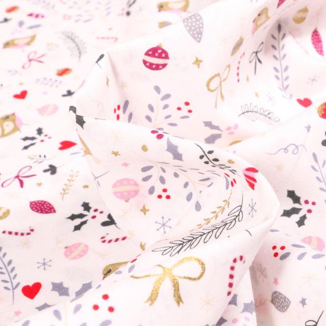 Tissu Coton imprimé Oiseaux et nœuds dorés sur fond Blanc cassé