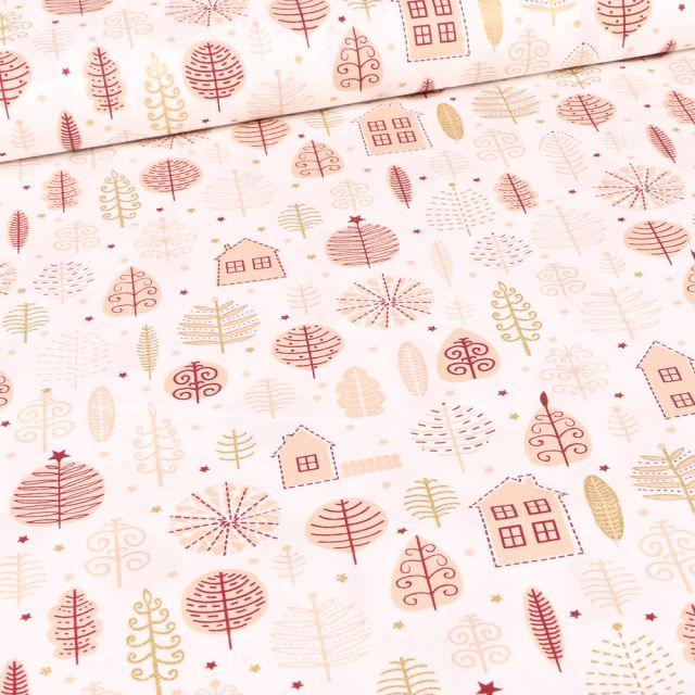 Tissu Coton imprimé Maison et feuilles dorées sur fond Blanc cassé