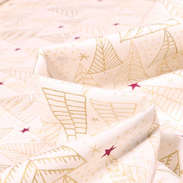 Tissu Coton imprimé Sapins stylisé dorés sur fond Blanc cassé