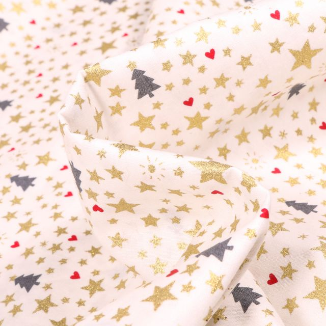 Tissu Coton imprimé Sapins et étoiles dorées sur fond Blanc cassé