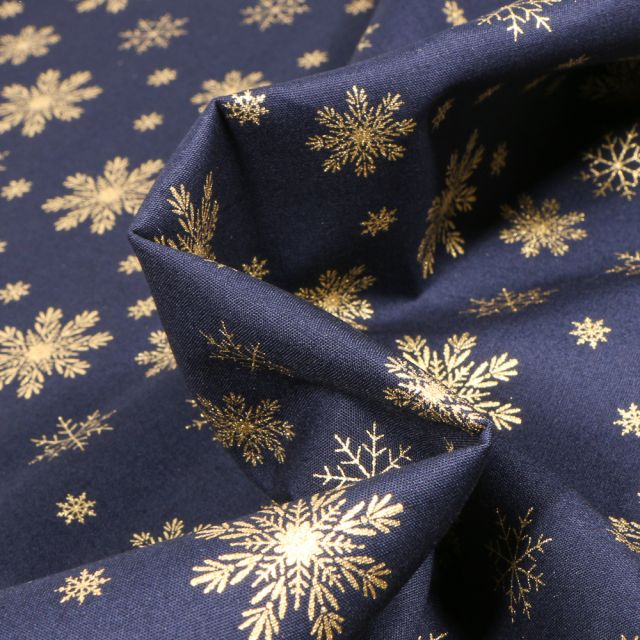 Tissu Coton imprimé Flocons de neige dorés sur fond Bleu nuit