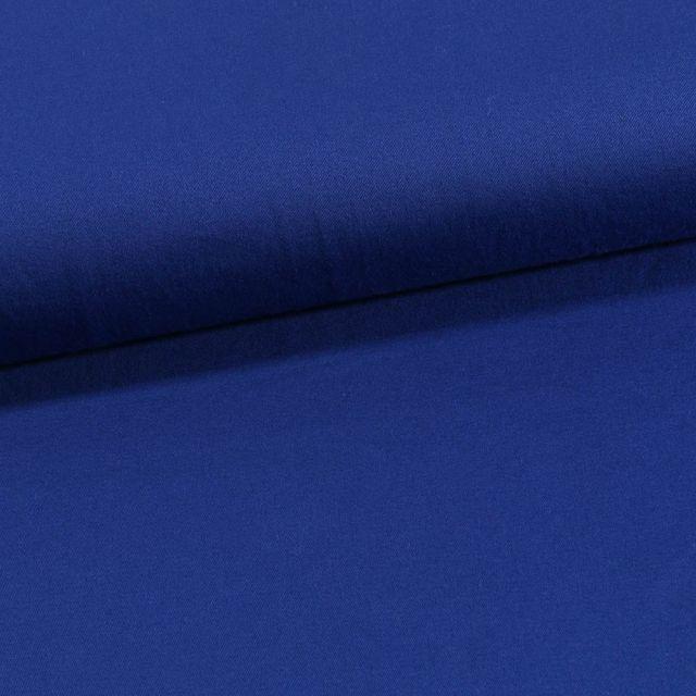 Tissu Coton Sergé extensible Bleu roi - Par 10 cm
