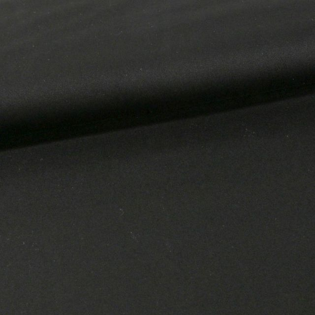Tissu Coton Sergé extensible Noir - Par 10 cm