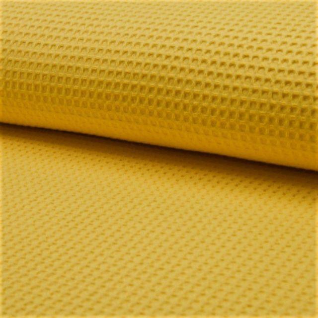Tissu Nid d'abeille Jaune ocre x10cm