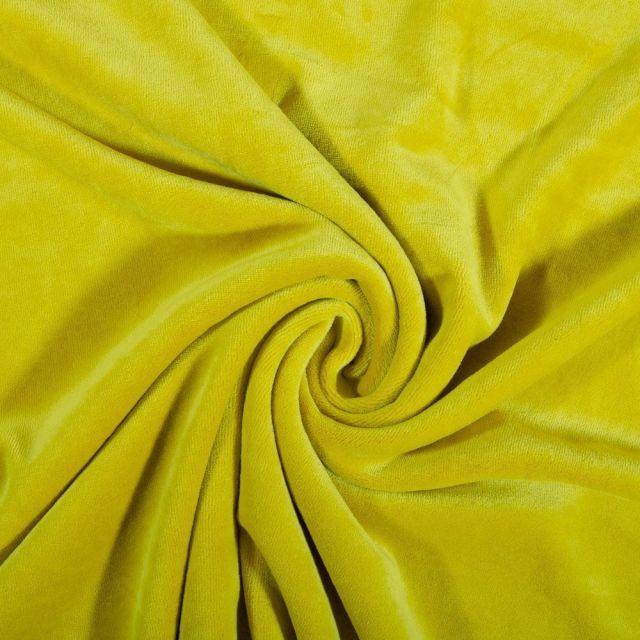 Tissu Jersey Velours tout doux Jaune moutarde x10cm