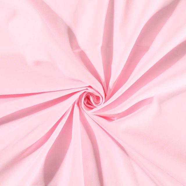 Tissu Polycoton uni Rose bébé - Par 10 cm