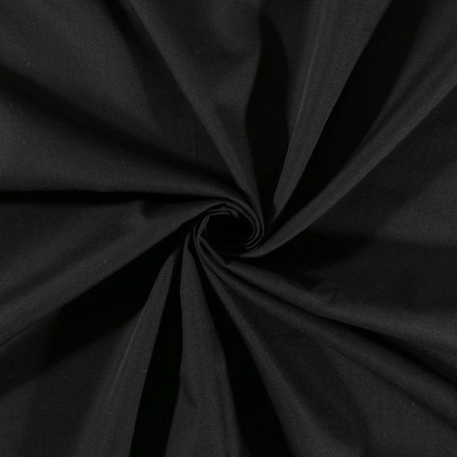 Tissu Polycoton uni Noir - Par 10 cm