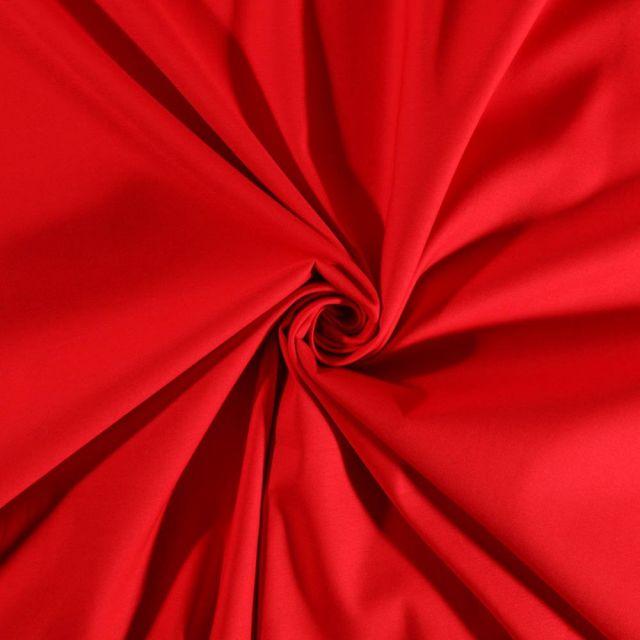 Tissu Coton Satiné extensible Rouge - Par 10 cm