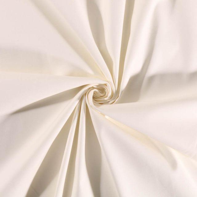 Tissu Coton Satiné extensible Ecru - Par 10 cm