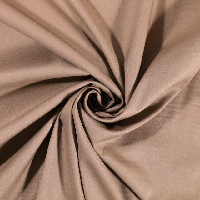 Tissu Coton Satiné Extensible Uni Beige foncé - Par 10 cm