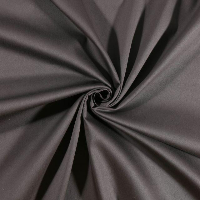 Tissu Coton Satiné extensible Gris - Par 10 cm
