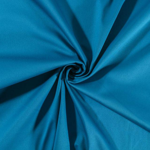 Tissu Coton Satiné extensible Bleu Canard - Par 10 cm