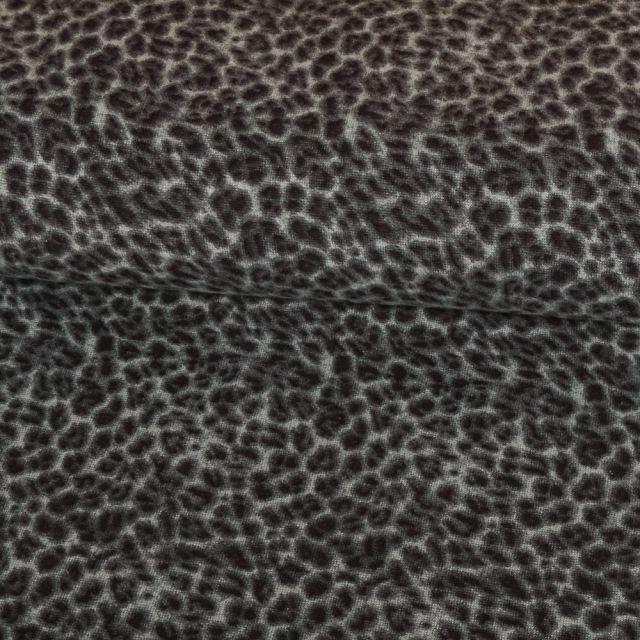 Tissu Jersey Velours Noir Panthère Vert d'eau - Par 10 cm