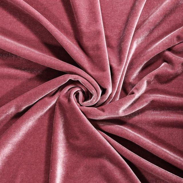 Tissu Velours jersey épais Vieux rose - Par 10 cm