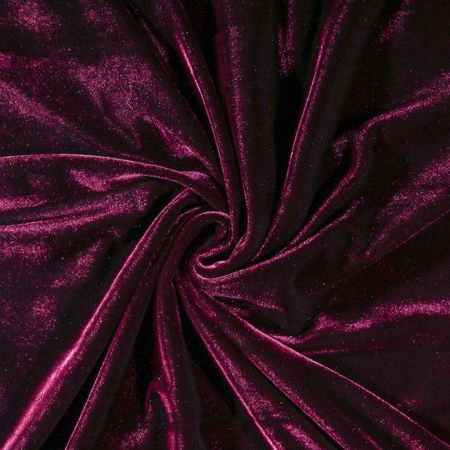Tissu Velours jersey épais Prune - Par 10 cm
