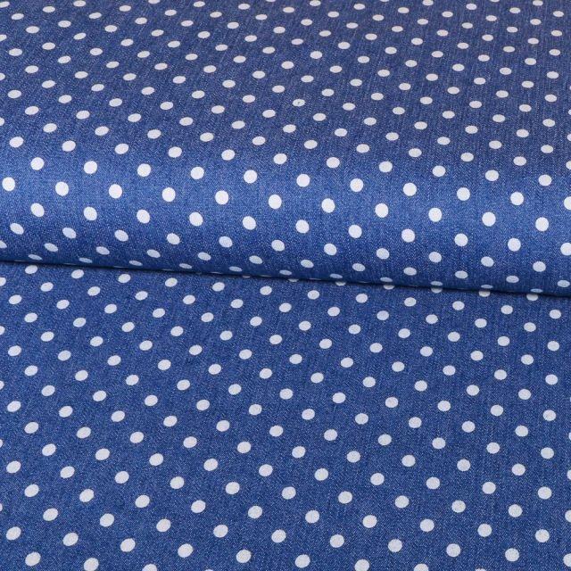 Tissu Chambray Pois 5mm Blancs sur fond Bleu jean - Par 10 cm