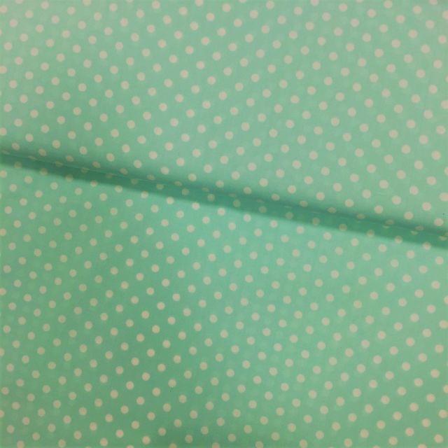 Tissu Coton imprimé Vert menthe Pois 8 mm Blancs - Par 10 cm
