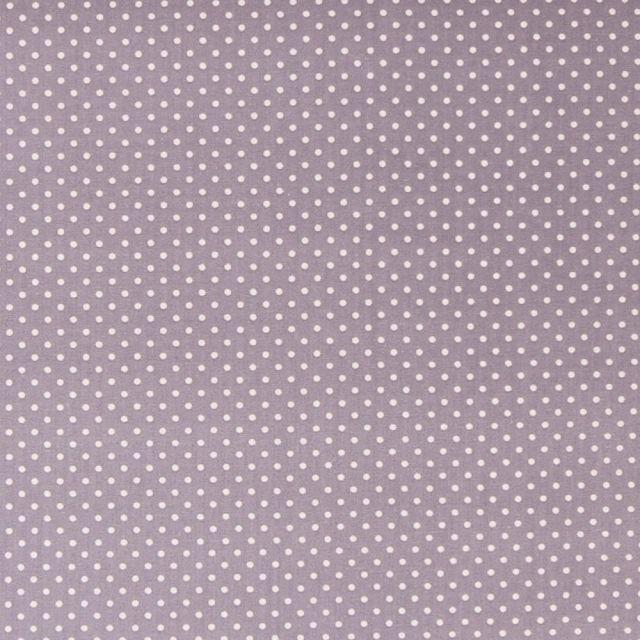 Tissu Coton imprimé Gris Pois 3 mm Blancs - Par 10 cm