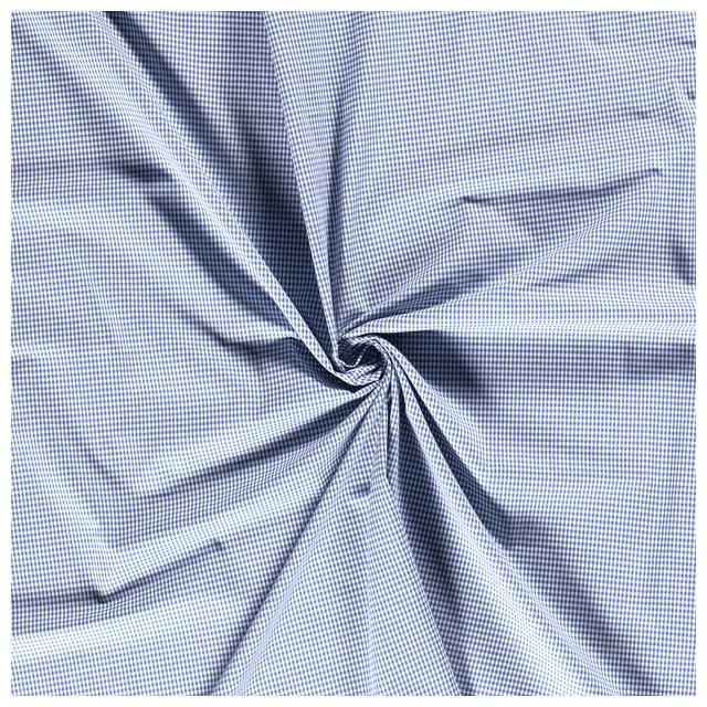 Tissu Vichy Mini carreaux 3 mm Bleu ancien - Par 10 cm