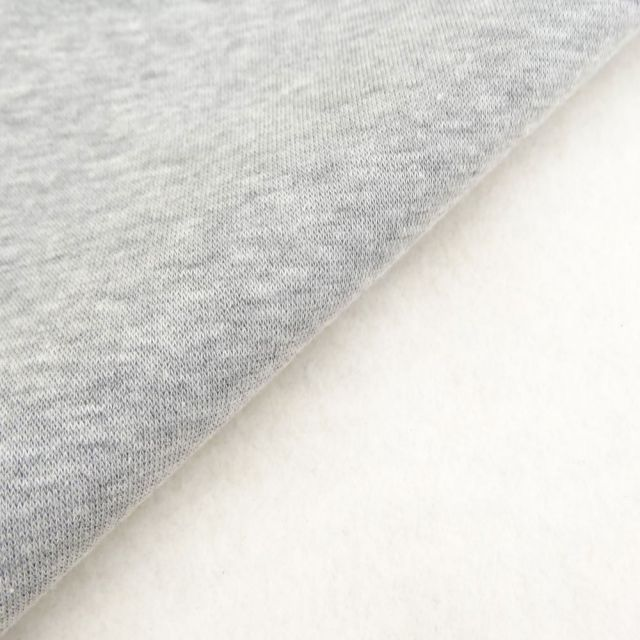 Tissu Molleton Sweat uni Gris chiné x10cm