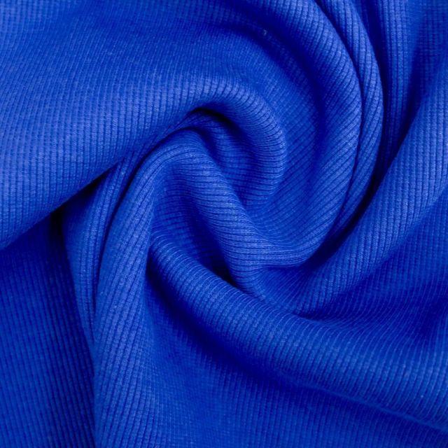 Tissu Bord côte uni Bleu roi - Par 10 cm