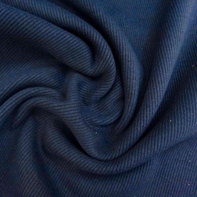 Tissu Bord côte uni Bleu marine - Par 10 cm