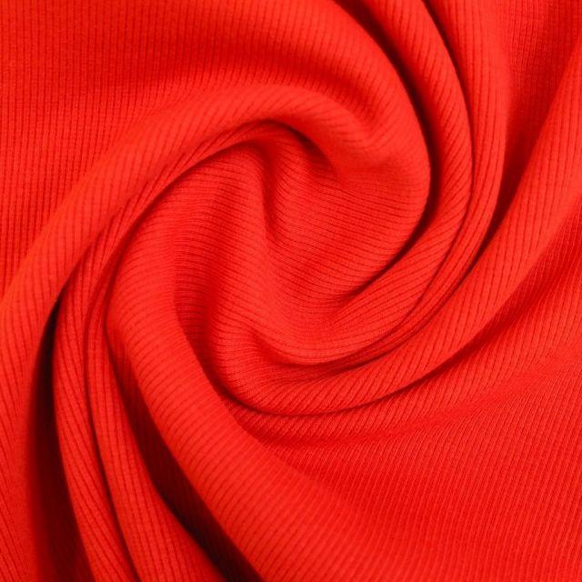 Tissu Bord côte uni Rouge - Par 10 cm