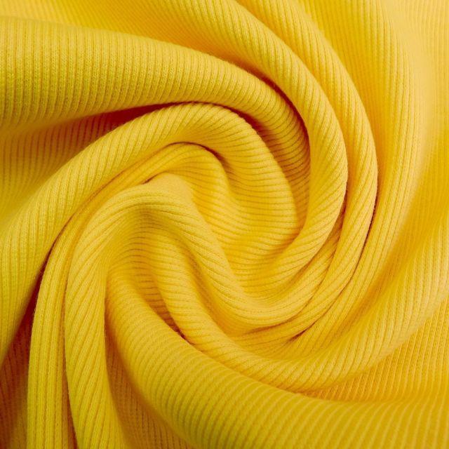 Tissu Bord côte uni Jaune - Par 10 cm