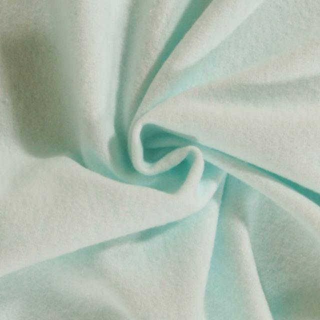 Tissu Flanelle de coton uni Vert Menthe - Par 10 cm