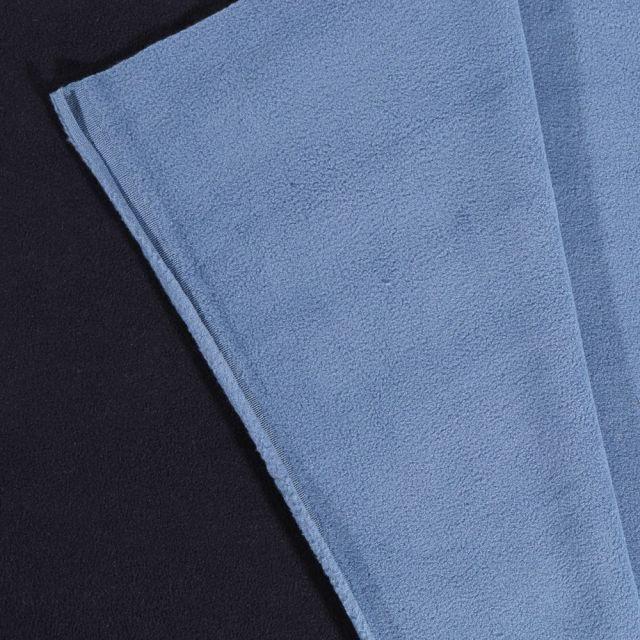 Tissu Polaire Double face Bicolore Bleu marine et bleu ciel - Par 10 cm