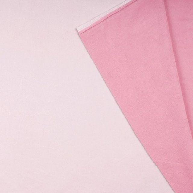 Tissu Polaire Double face Bicolore Rose pastel et vieux rose - Par 10 cm