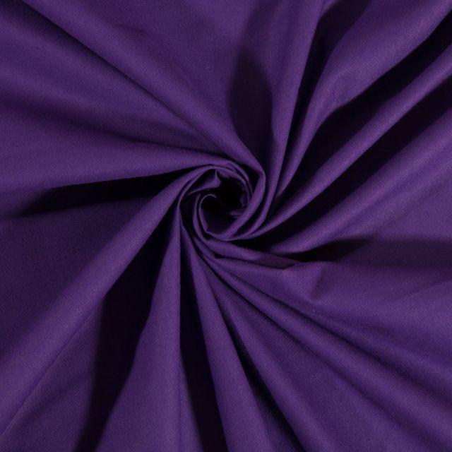 Tissu Coton uni Violet foncé - Par 10 cm