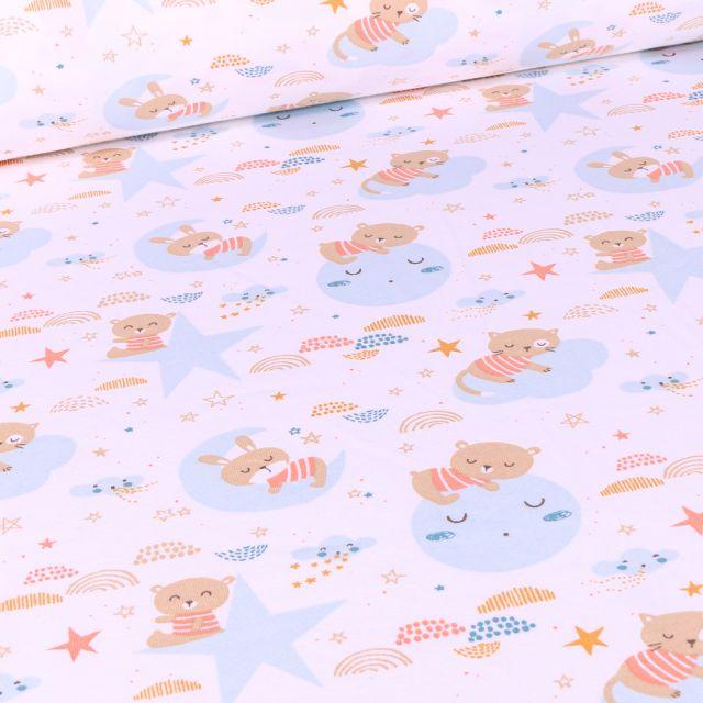 Tissu Jersey Coton Arty Oursons et lunes sur fond Blanc