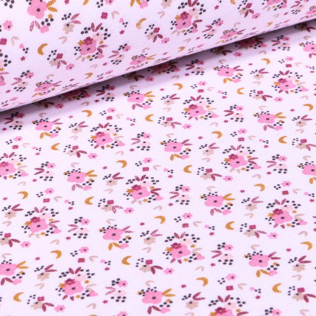 Tissu Jersey Coton Rosy sur fond Blanc