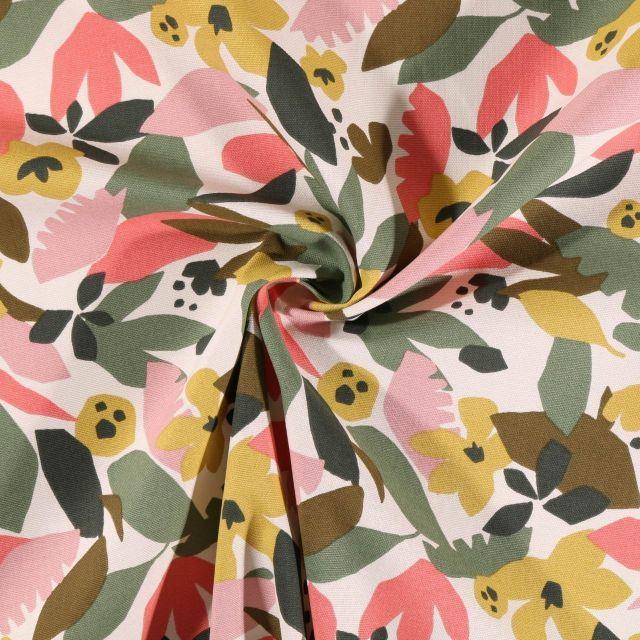 Tissu Toile de Coton Craftine Feuilles et fleurs sur fond Ecru - Par 10 cm