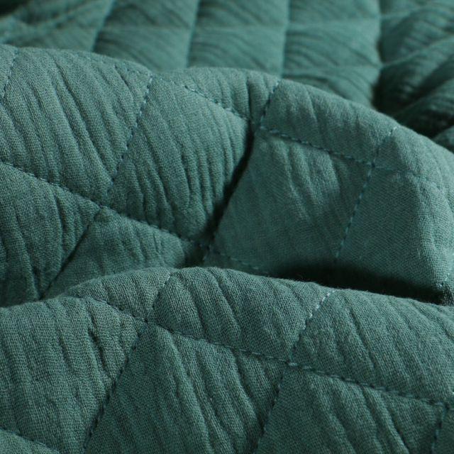Tissu Double gaze Matelassée Vert canard - Par 10 cm