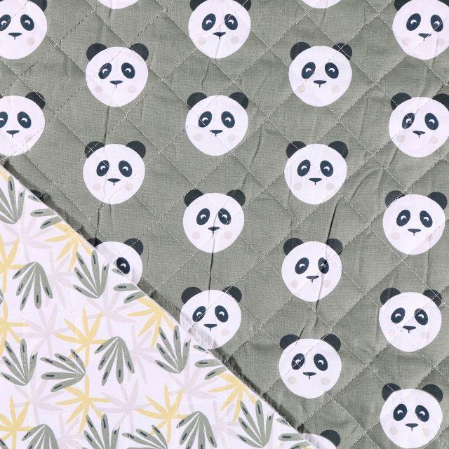Tissu Matelassé Arty Pandas Noirs et blancs sur fond Vert kaki - Par 10 cm