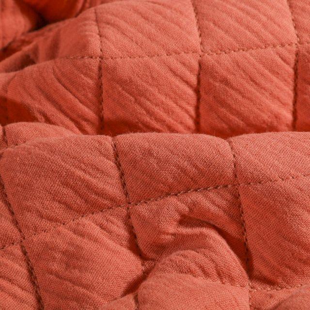 Tissu Double gaze Matelassée Marsala - Par 10 cm