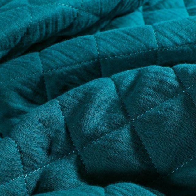 Tissu Double gaze Matelassée Bleu pétrole - Par 10 cm