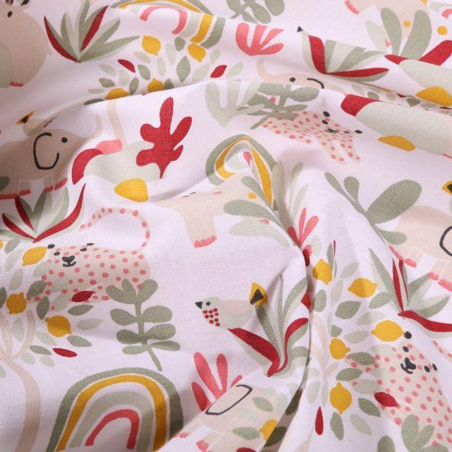 Tissu Coton imprimé Arty Végétations et léopards sur fond Blanc - Par 10 cm