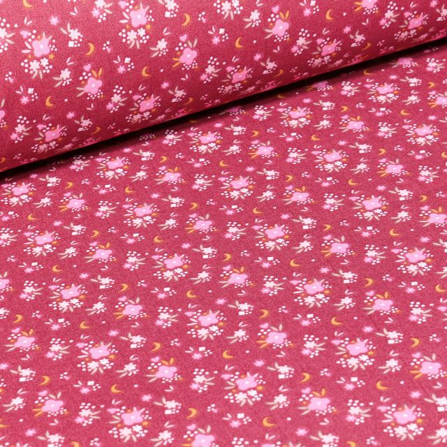 Tissu Coton imprimé Arty Rosy sur fond Rose