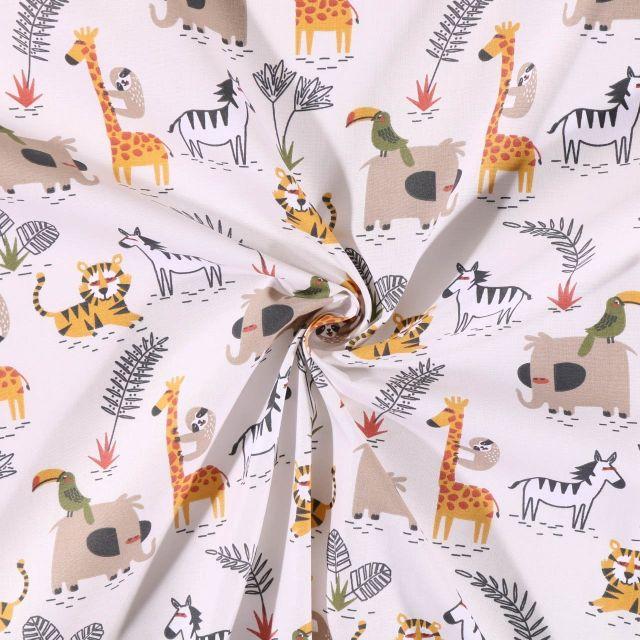 Tissu Coton imprimé  Arty Animaux de la savane sur fond Ecru - Par 10 cm