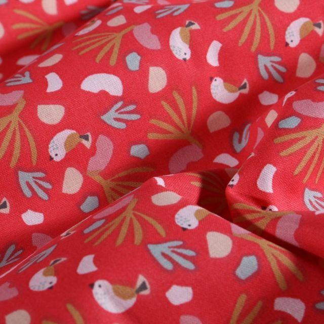 Tissu Coton imprimé Arty Brindilles et oisillons sur fond Grenadine - Par 10 cm