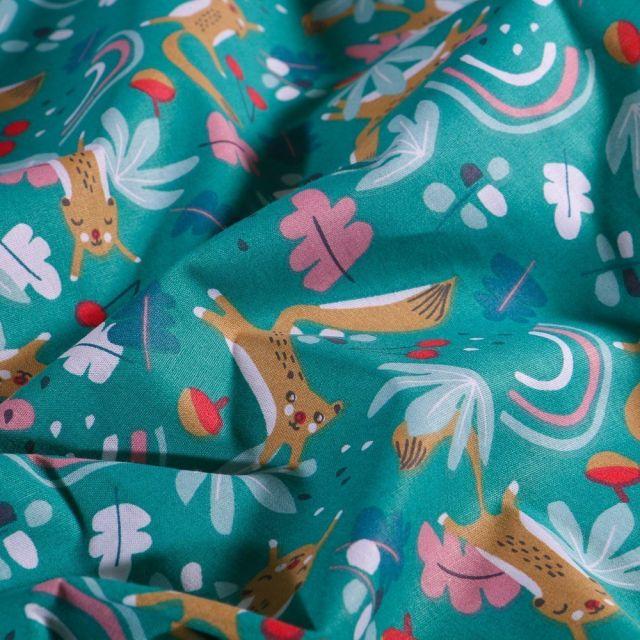 Tissu Coton imprimé Arty Écureuil fleuris sur fond Vert canard - Par 10 cm