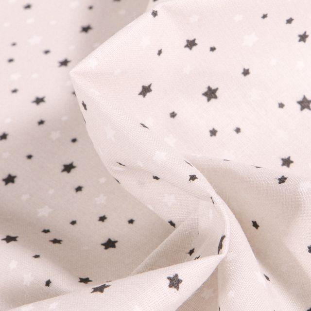Tissu Coton imprimé Arty Etoiles grises et blanches sur fond Blanc cassé