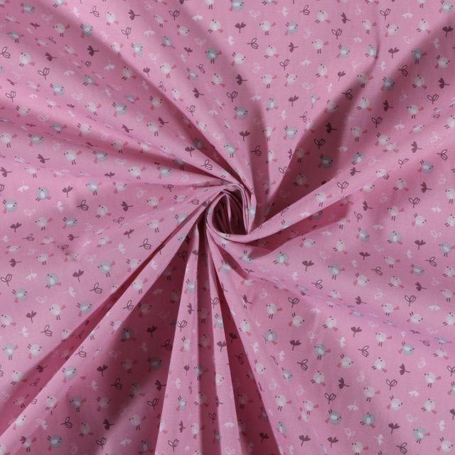 Tissu Coton imprimé Petits oiseaux sur fond Rose - Par 10 cm