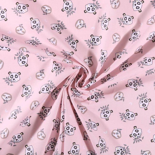 Tissu Coton imprimé Têtes de pandas et paresseux sur fond Rose - Par 10 cm