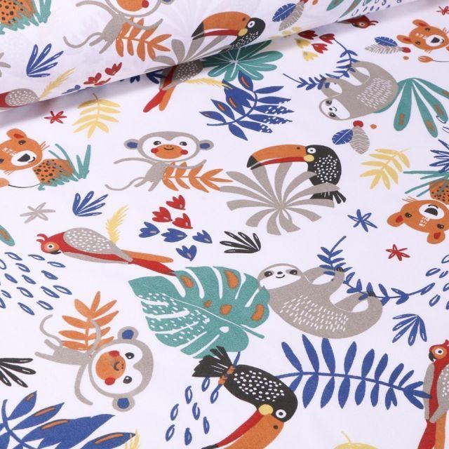 Tissu Coton imprimé Arty Animaux de la jungle africaine sur fond Blanc - Par 10 cm